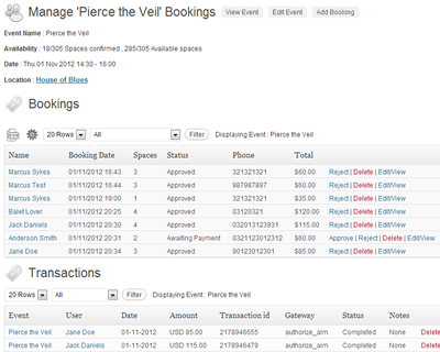 Easily filter and sort your bookings, export them to CSV, modify and update booking information and keep track of payments.