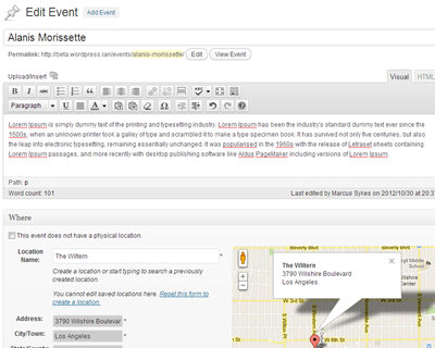 Create and manage your events straight from your WordPress Admin Dashboard