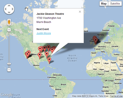 Show your worldwide locations and their upcoming events on one map with shortcodes and template tags!