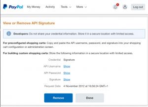 screenshot of api credentials page