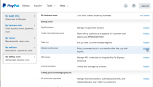 screenshot of website preferences on paypal selling tools