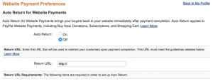 screenshot of auto return settings