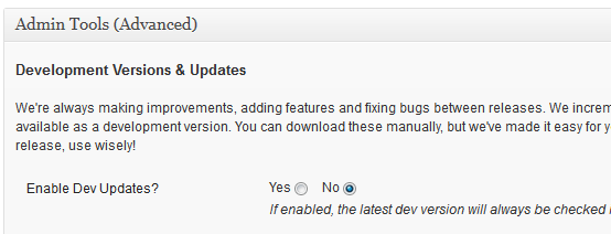 Enable Dev Updates