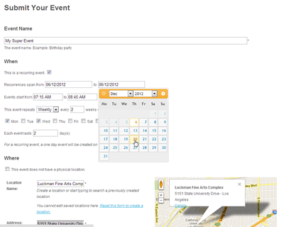 Create multiple events at once with our recurring events manager.