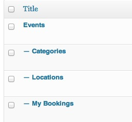 the new pages on the pages admin screen in WordPress. Events is the parents, with categories, locations and my bookings as the children